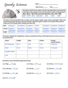 Spooky Science Rocks Halloween Lab Activity on density mass volume weight metric