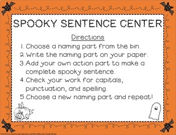 Halloween Sentence Center (Freebie!)
