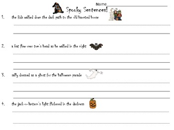 Spooky Sentences {Free}