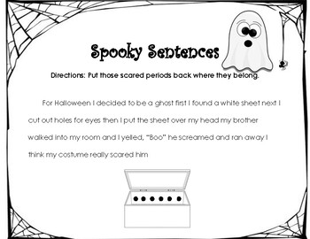 Spooky Sentences-Period Placer- PostAssessment