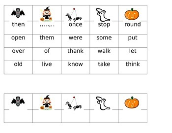 Spooky Sight Word Bingo