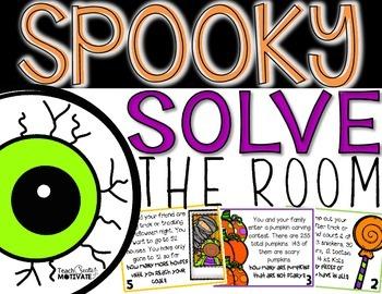 Spooky Solve the Room {Halloween Math Hunt}