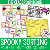 Spooky Sorting - 3 Math and 3 Literacy Sorting Activities