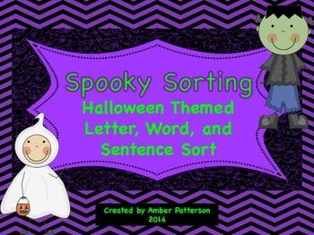 Spooky Sorting:  Halloween Themed Letter, Word, Sentence Sort