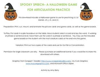 Spooky Speech- A Halloween Articulation Game