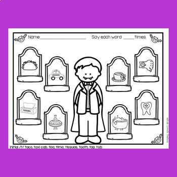Spooky Speech No Prep Articulation Worksheets for Early Sounds