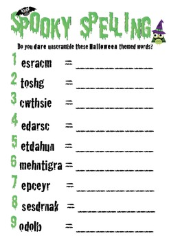 spooky spelling do you dare to unscramble these halloween words