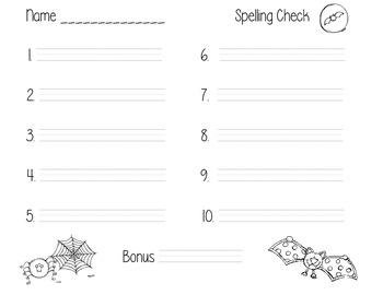 Halloween Spelling Test Template