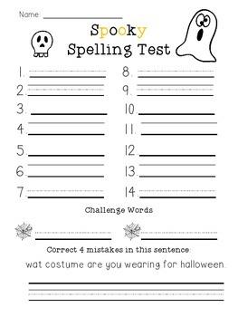 Spooky Spelling Test