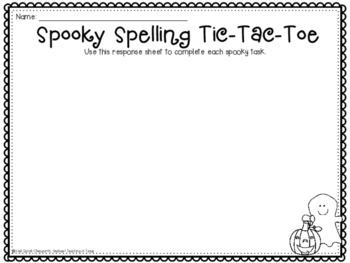 Spooky Spelling Tic-Tac-Toe FREEBIE