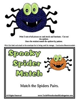 Spooky Spider Match - 1 to 1 Pattern matching - Halloween