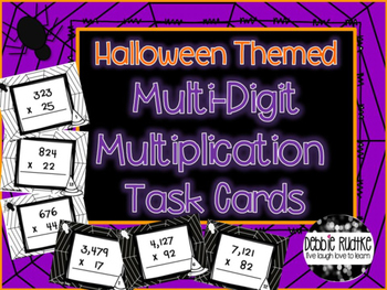 Halloween Themed Multi-Digit Multiplication Task Cards
