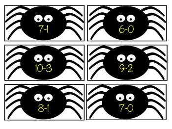 Spooky Spider Subtraction Match