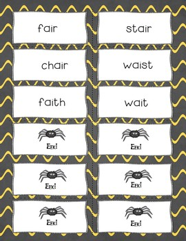Spooky Spider Vowel Teams AI/AY Reading Game