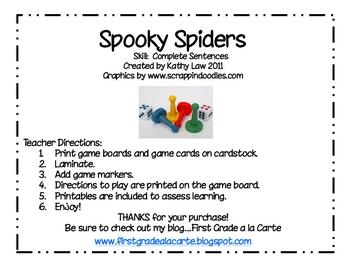 Spooky Spiders--Complete Sentences