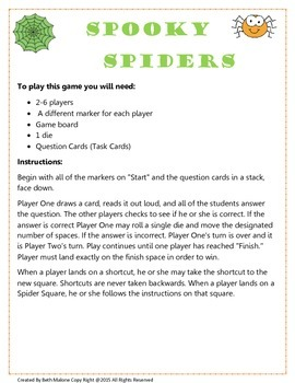 Spooky Spiders Games Board