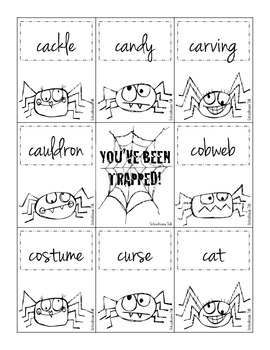 Spooky Spiders - Halloween themed word lists sorted by phonemes