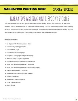 Spooky Stories - 2nd & 3rd Halloween Narrative Writing Unit 5-paragraph essay