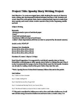 Spooky Story and Summary Report October Writing Unit