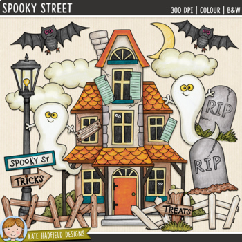 "Halloween Haunted House Clip Art: ""Spooky Street"""