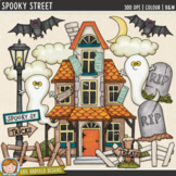 "Halloween Haunted House Clip Art: ""Spooky Street"""