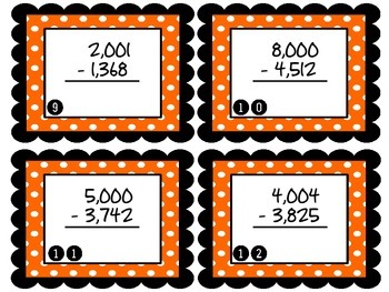 Spooky Subtraction - 4 digit by 4 digit Halloween Themed Subtraction Task Cards