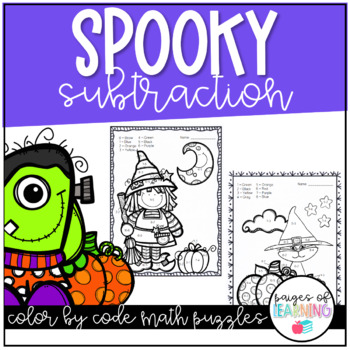Spooky Subtraction Color by Number