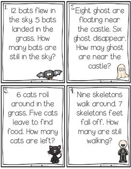Spooky Subtraction Task Cards {TEKS Aligned}