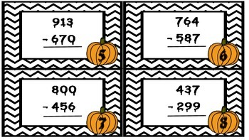 Spooky Subtraction (Three Digit Subtraction with Regrouping) Task Cards