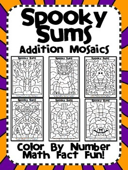Spooky Sums! Halloween Addition Mosaics-Color By Number