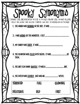 Spooky Synonyms and Antonyms