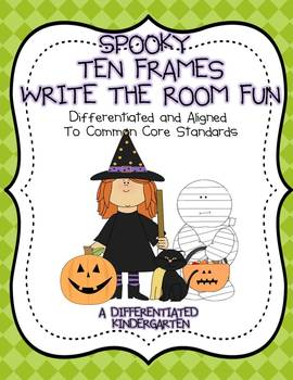 Spooky Ten Frame Write The Room Run-Differentiated and Aligned