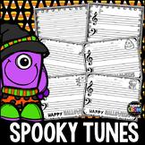 Spooky Tunes Blank Sheet Music!  Halloween Composing & Coloring Fun!