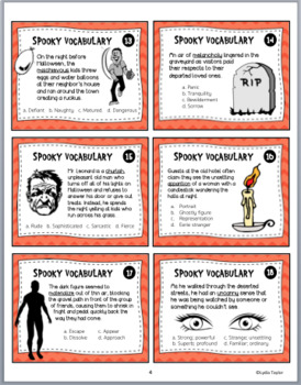 Spooky Vocabulary Halloween Task Cards
