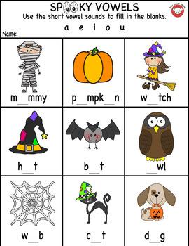 Spooky Vowels Worksheet