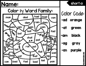 Spooky Word Families ( Color by...)