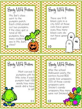 Spooky Word Problems: Addition, Subtraction, Multiplication, and Division