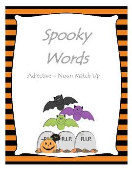 Spooky Words - Halloween Adjective Noun Match Up
