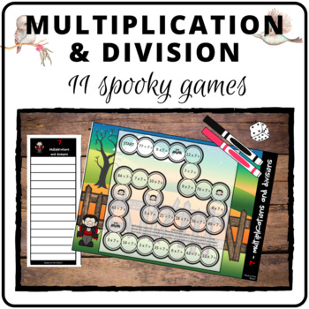 Spooky halloween multiplication and division game boards