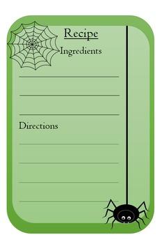 Spooky recipe card