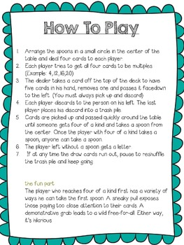 Spoon Card Game for Multiples
