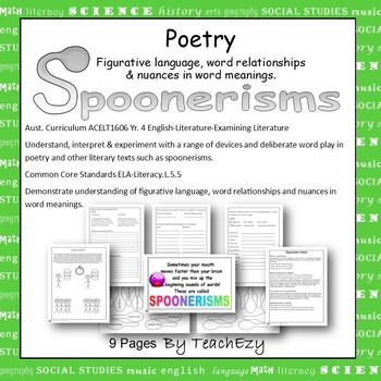 Spoonerisms Poetry Lesson Plan