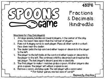 Spoons Game {Math} Equivalent Fractions & Decimals - Hundredths