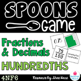 Spoons Game {Math} Equivalent Fractions & Decimals - Hundredths