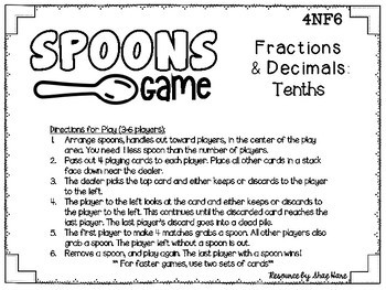 Spoons Game {Math} Equivalent Fractions and Decimals - Tenths