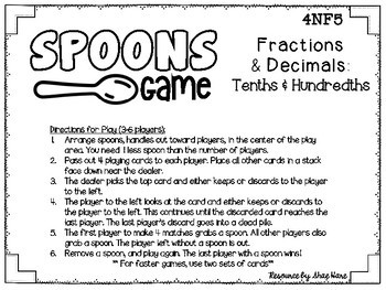 Spoons Game {Math} Equivalent Fractions & Decimals - Tenths & Hundredths