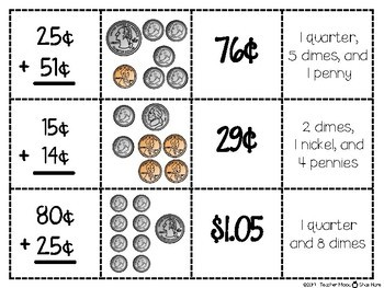 Spoons Game {Math} Adding Money - Coins - Fluency Practice