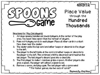 Spoons Game {Math} Place Value through Hundred Thousands