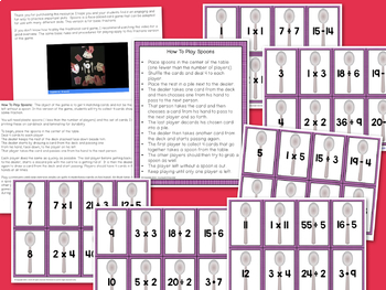 Multiplication Division Card Game - Spoons