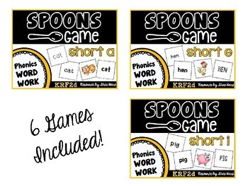 Spoons Game {Reading} CVC short vowel BUNDLE [Phonics Word Work]